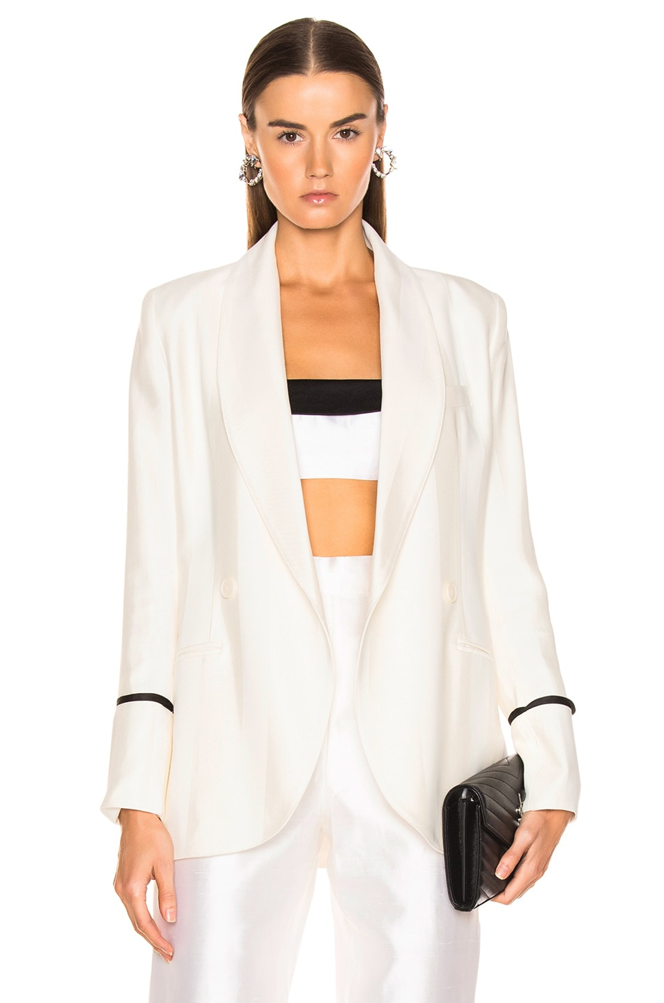 Image 1 of Smythe Tie Blazer in Ivory & Black