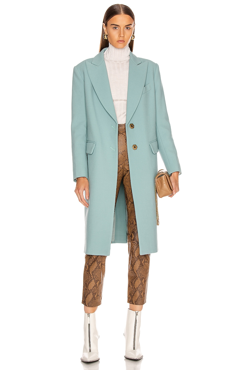 Image 1 of Smythe Peaked Lapel Overcoat in Mineral Blue