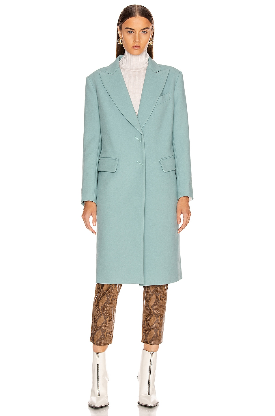Image 2 of Smythe Peaked Lapel Overcoat in Mineral Blue