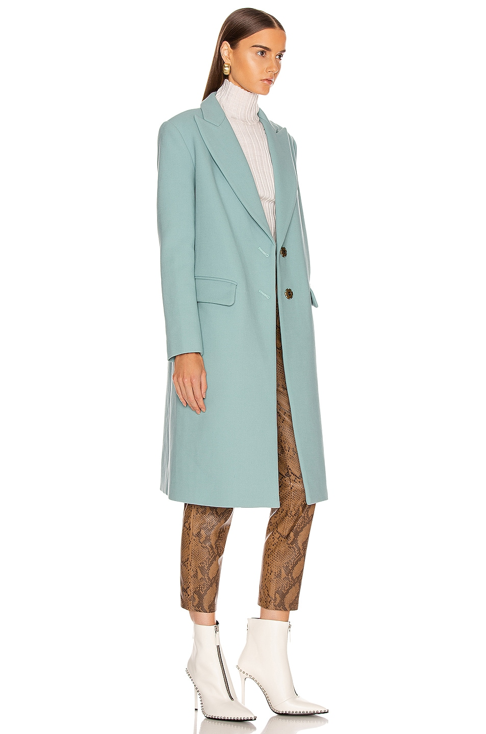 Image 3 of Smythe Peaked Lapel Overcoat in Mineral Blue