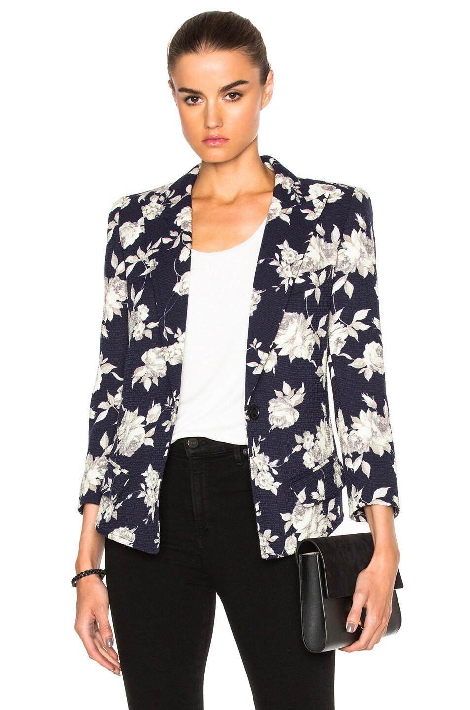 Smythe Sharp Shoulder Blazer in Navy Floral | FWRD