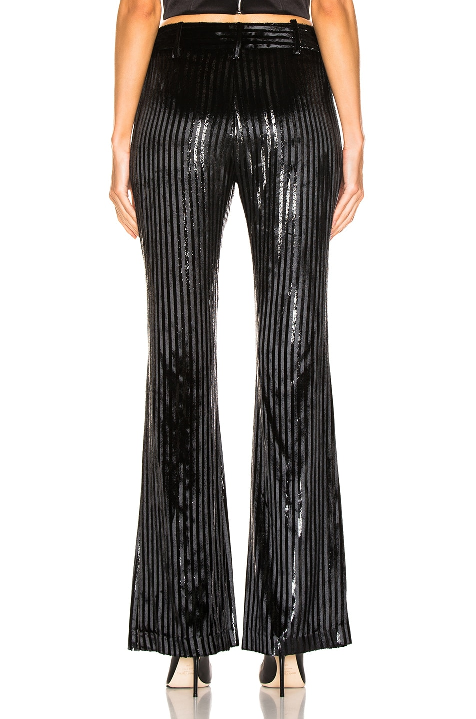 Image 3 of Smythe Velvet Bootcut Pant in Black Lame Stripe