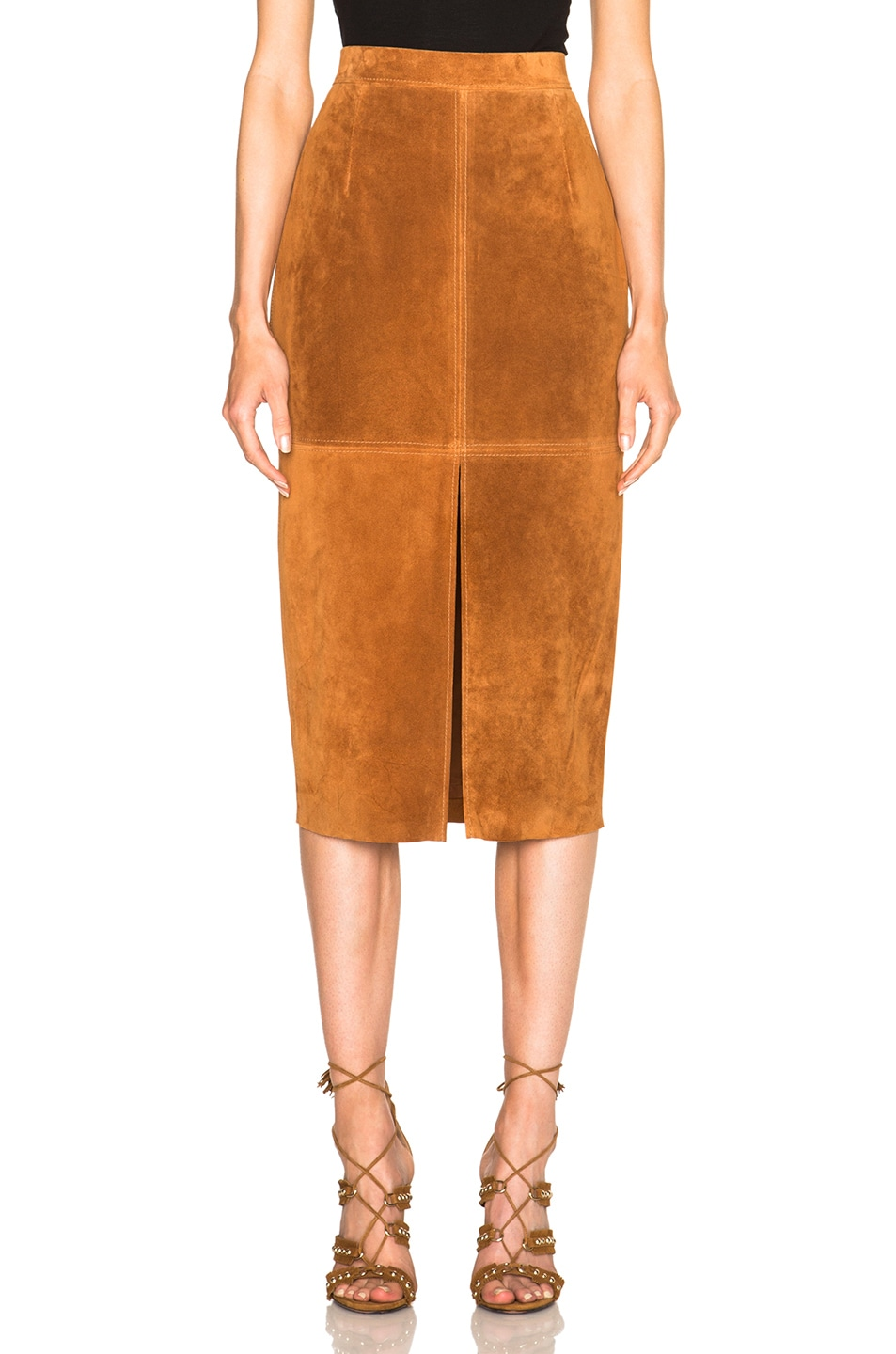 Image 1 of Smythe Suede Pencil Skirt in Rust