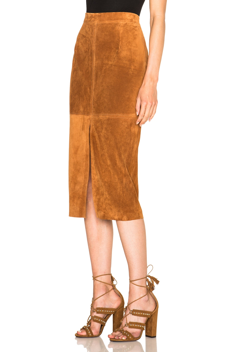Image 2 of Smythe Suede Pencil Skirt in Rust