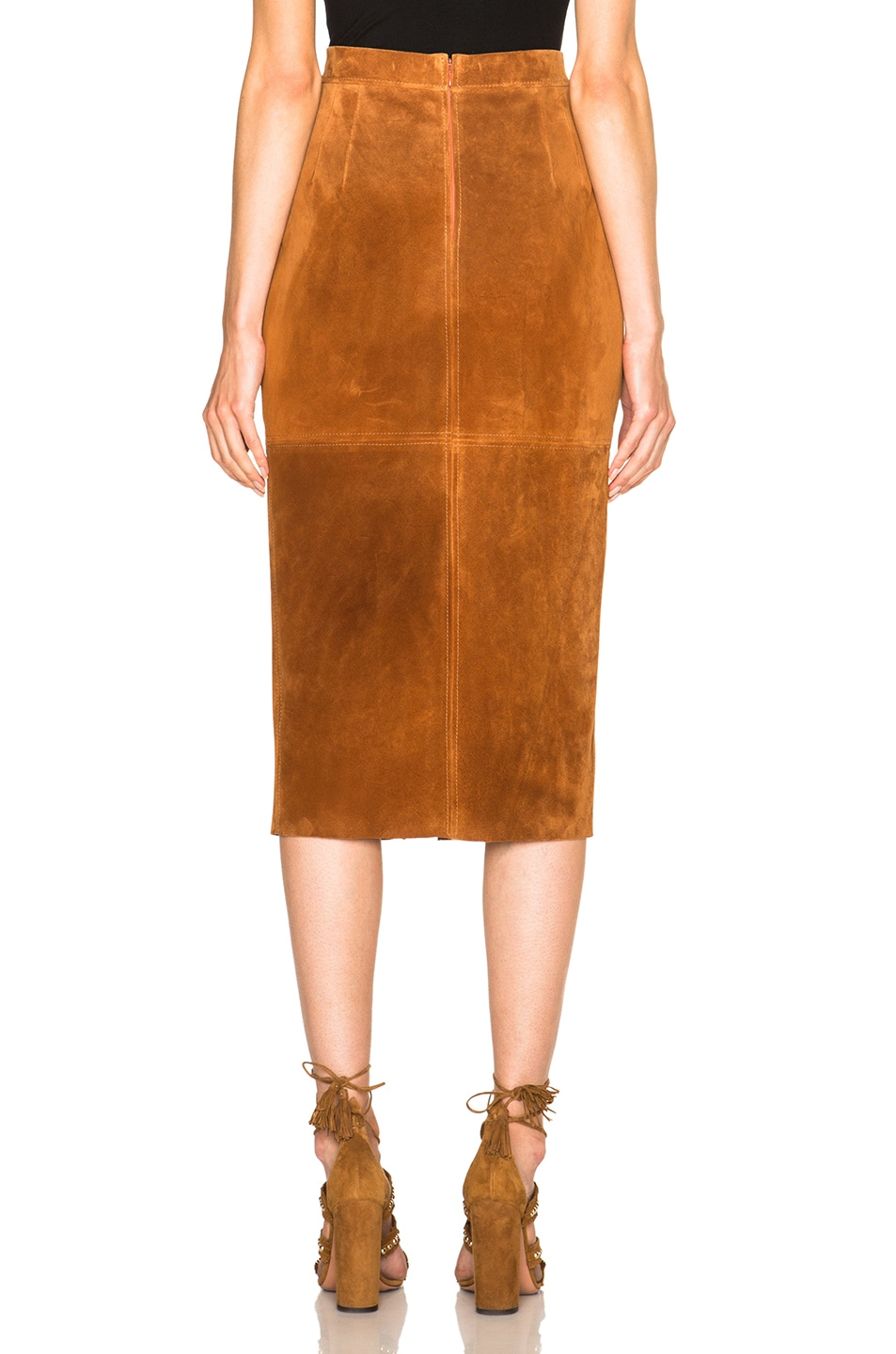 Image 4 of Smythe Suede Pencil Skirt in Rust