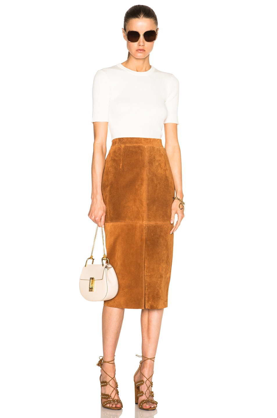 Image 5 of Smythe Suede Pencil Skirt in Rust