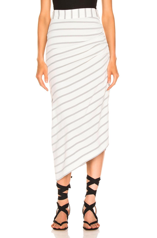 Image 1 of Smythe Asymmetrical Skirt in White & Black Diagonal Stripe