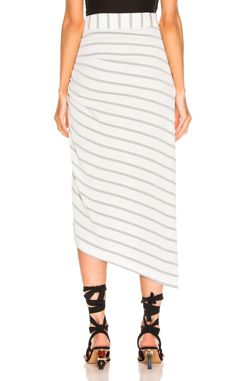 Image 4 of Smythe Asymmetrical Skirt in White & Black Diagonal Stripe