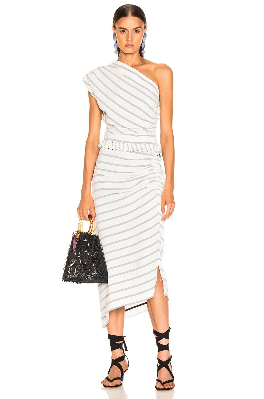 Image 5 of Smythe Asymmetrical Skirt in White & Black Diagonal Stripe