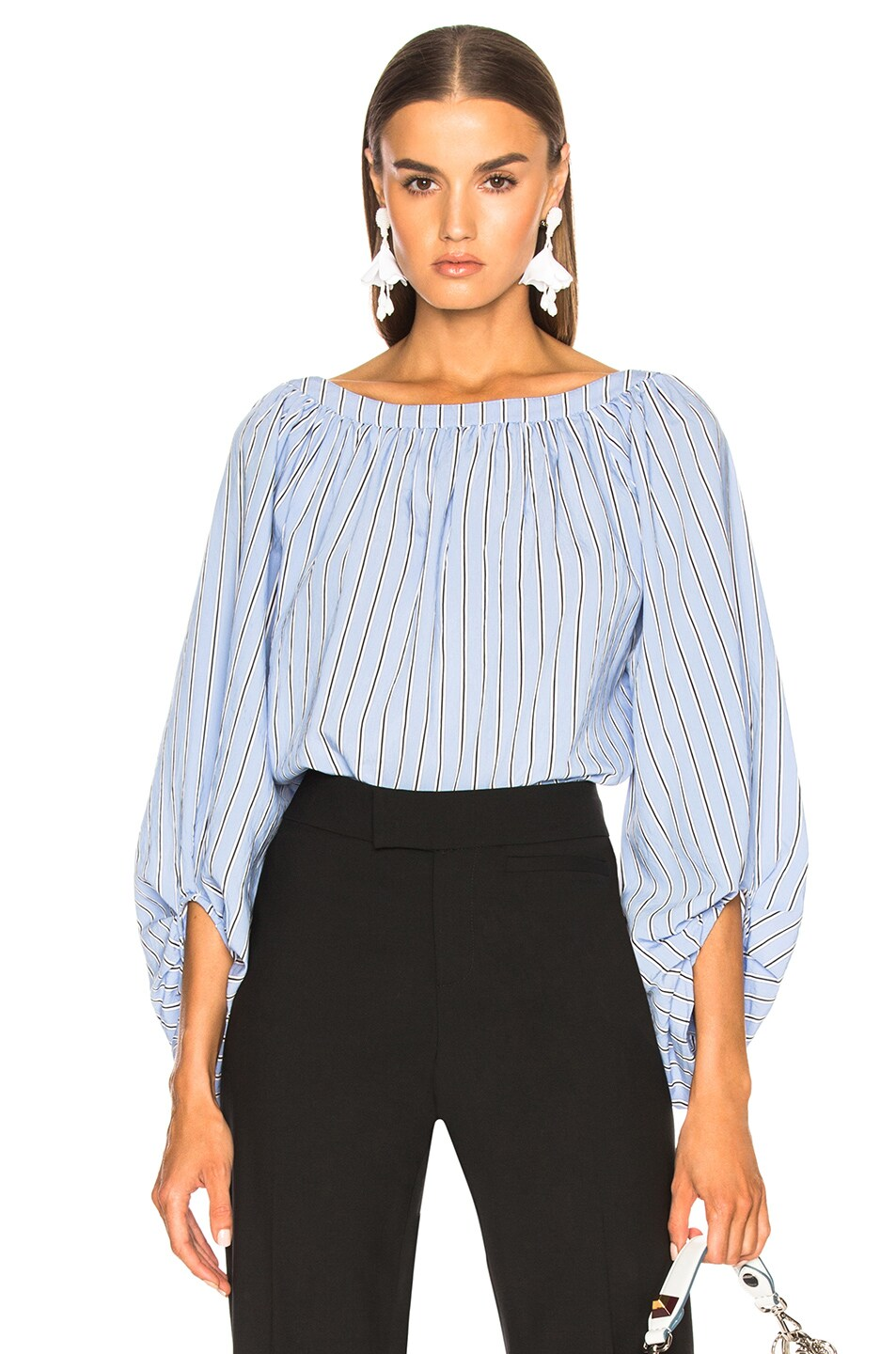 0d27a60785088 Image 1 of Smythe Balloon Sleeve Top in Shirting Stripe