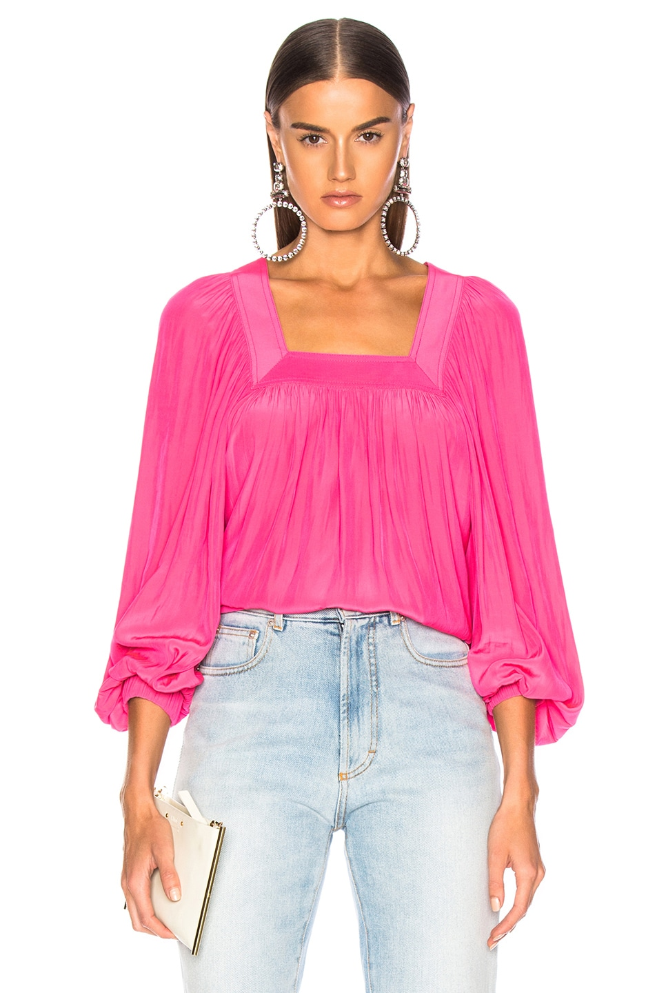 dd82ede2e9b4b Image 1 of Smythe Square Neck Top in Neon Pink