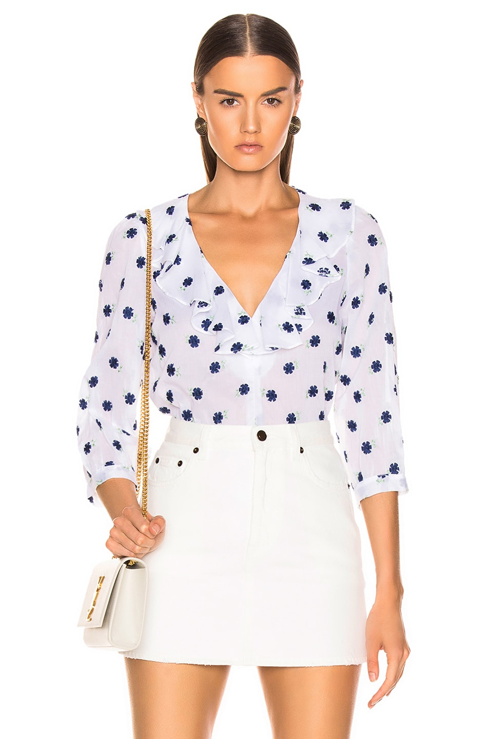 Image 1 of Smythe Over The Head Ruffle Blouse in Embroidered Floral
