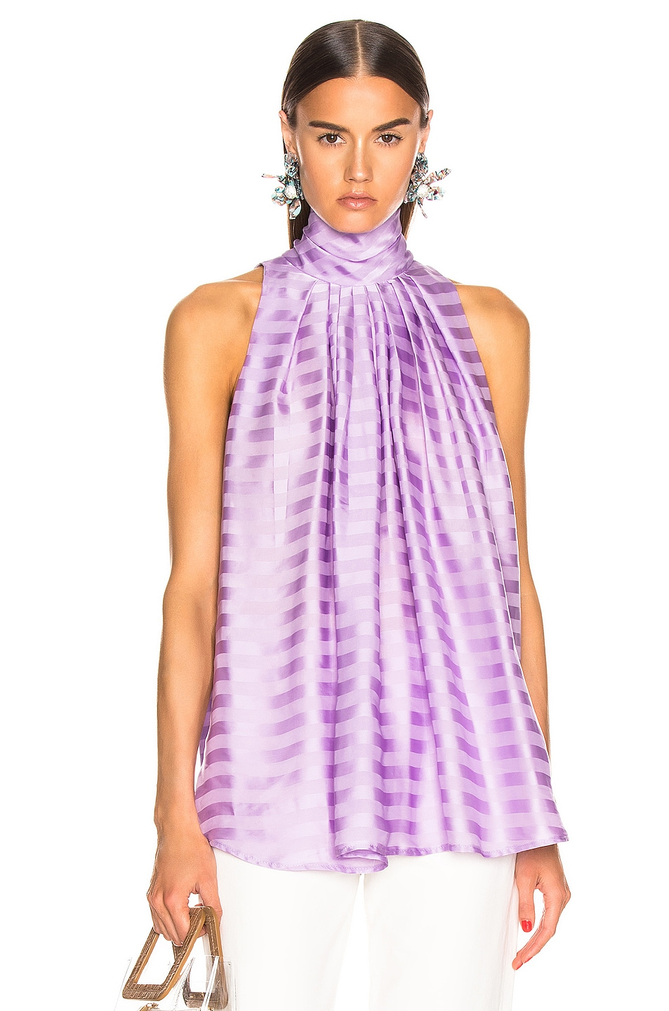 Image 1 of Smythe Sleeveless Turtleneck Drape Blouse in Lilac Shadow Stripe