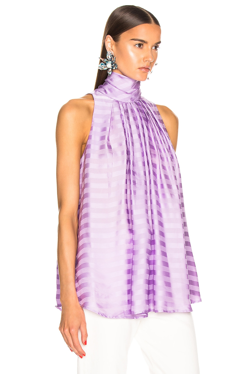 Image 2 of Smythe Sleeveless Turtleneck Drape Blouse in Lilac Shadow Stripe