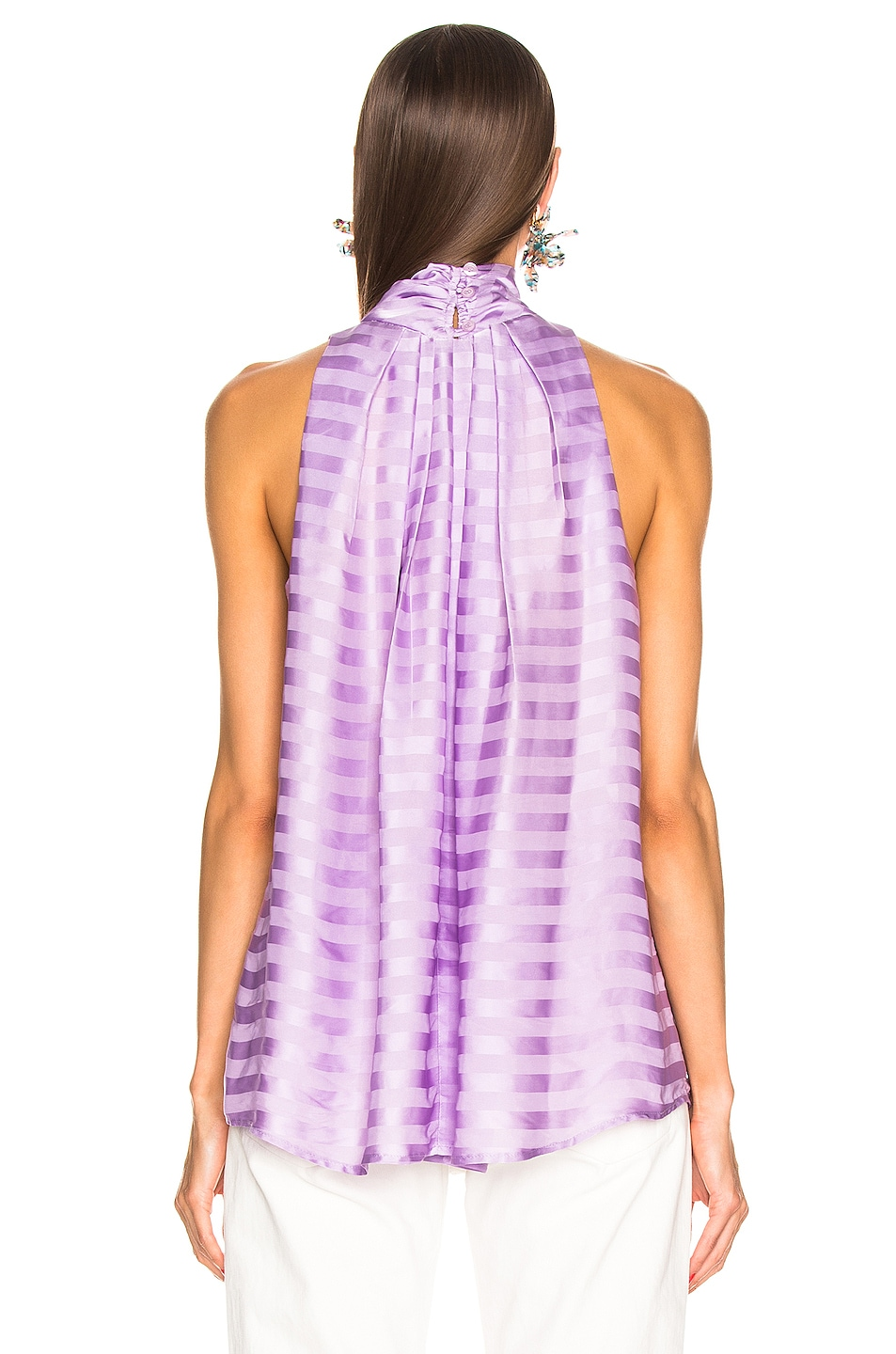Image 3 of Smythe Sleeveless Turtleneck Drape Blouse in Lilac Shadow Stripe