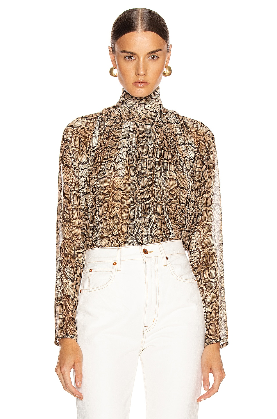 Image 1 of Smythe Turtleneck Drape Top in Snake Print