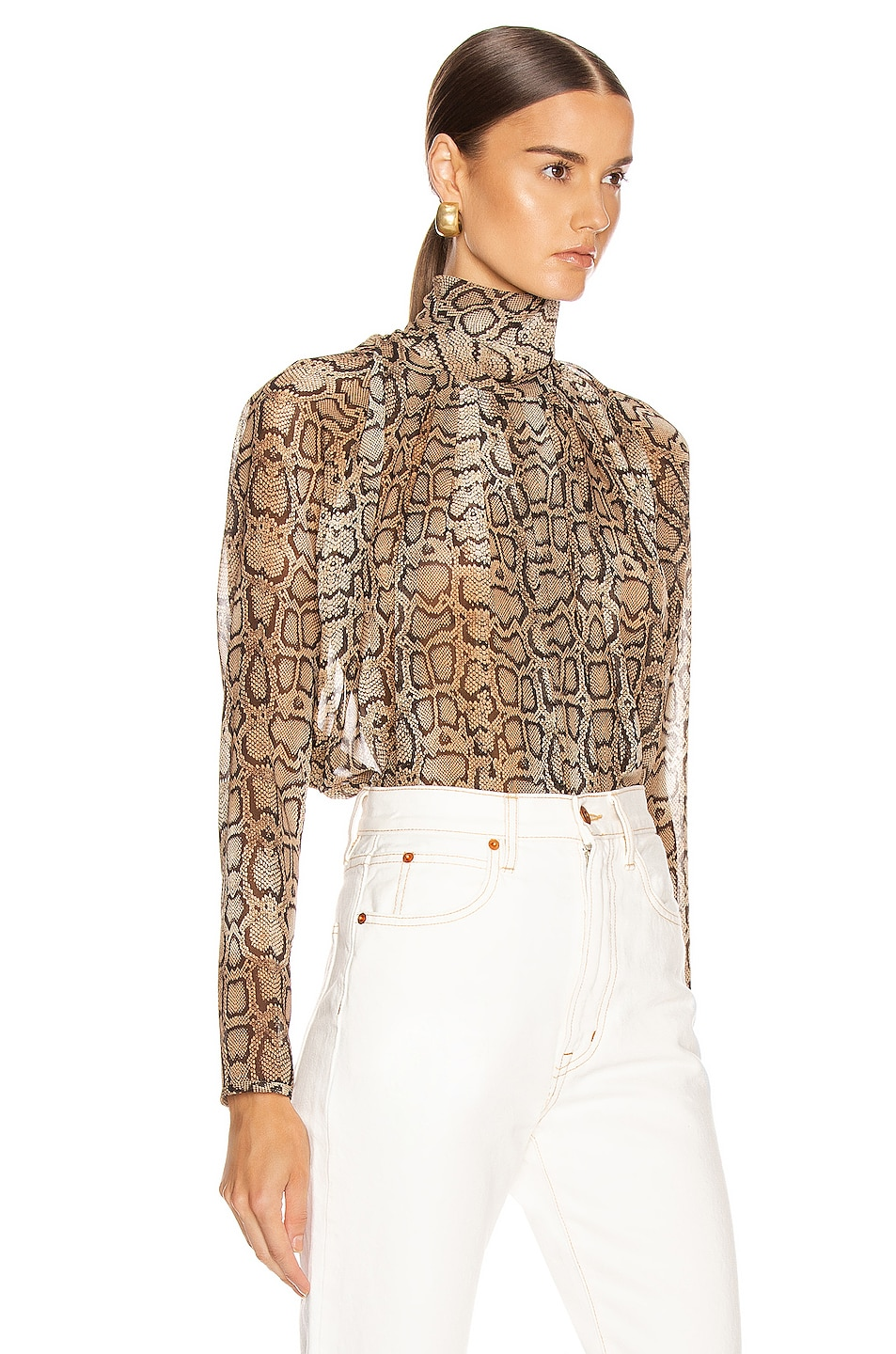 Image 2 of Smythe Turtleneck Drape Top in Snake Print