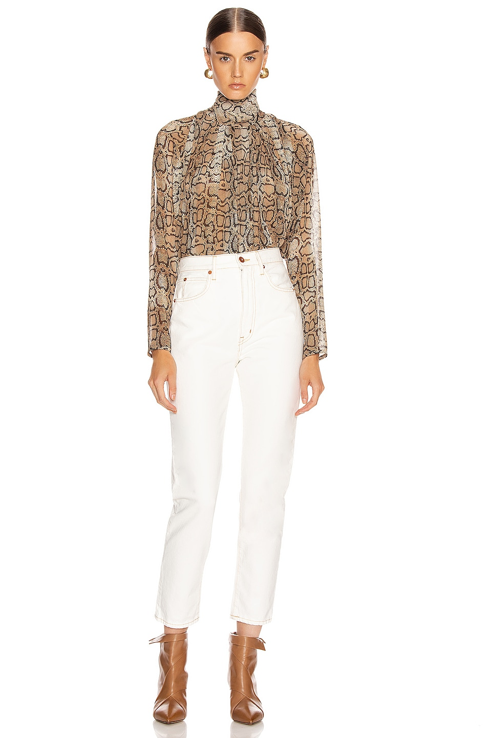Image 4 of Smythe Turtleneck Drape Top in Snake Print