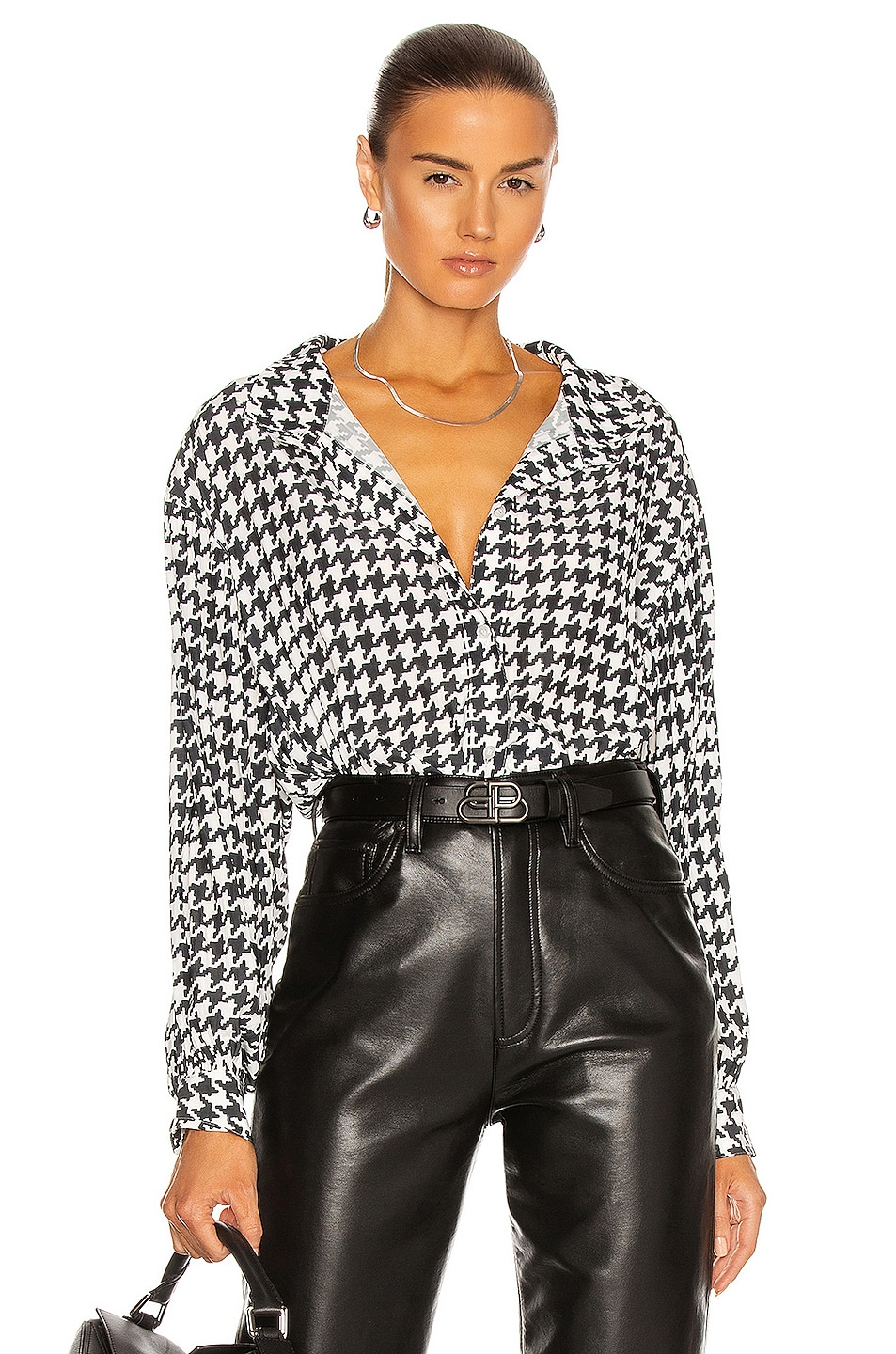 Image 1 of Smythe Poet Blouse in Black & White Houndstooth