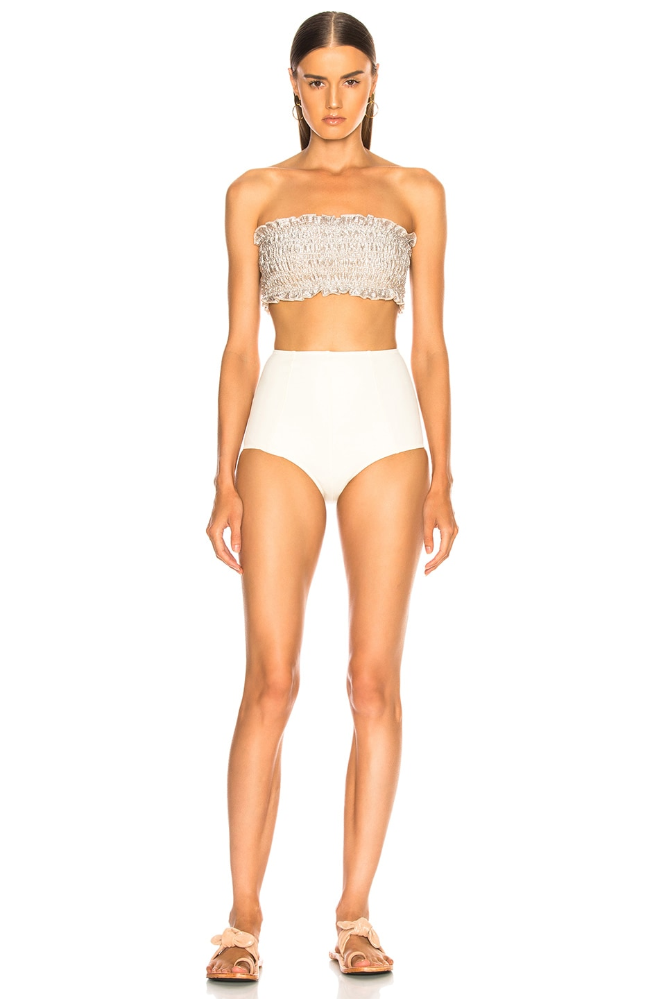 Image 1 of Sand & Blue Calista Swimsuit in Silver & Ecru