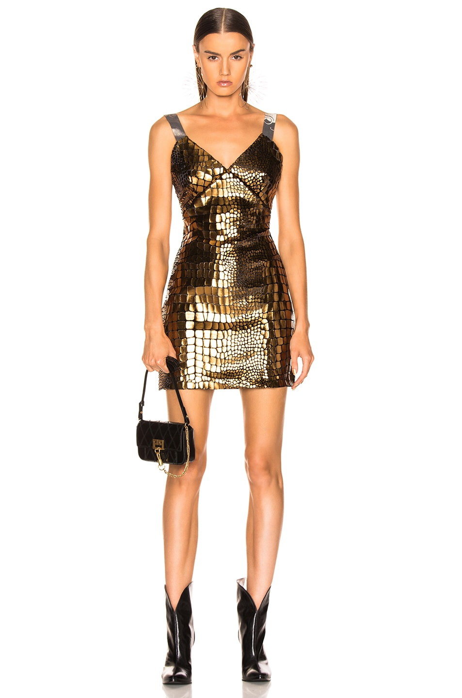 Image 1 of Sandra Mansour Soleil Brillant Mini Dress in Gold