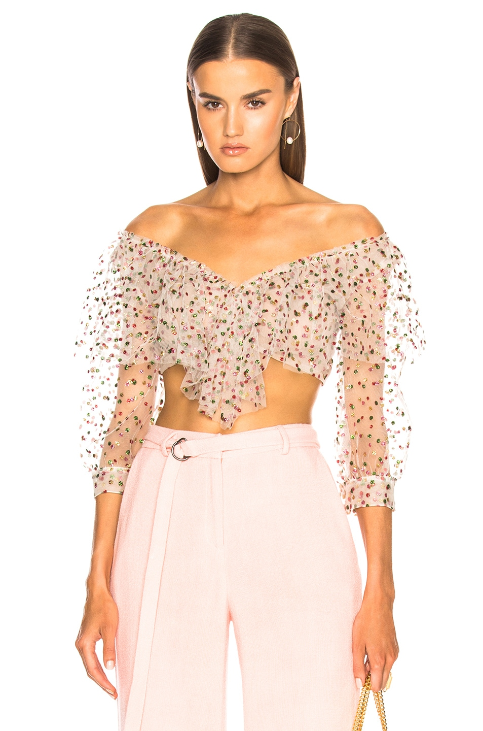 Sandra Mansour Sable Rose Top in White,Geometric Print,Pink