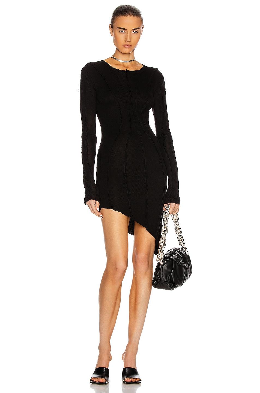 Image 1 of SAMI MIRO VINTAGE Asymmetric Long Sleeve Mini Dress in Black