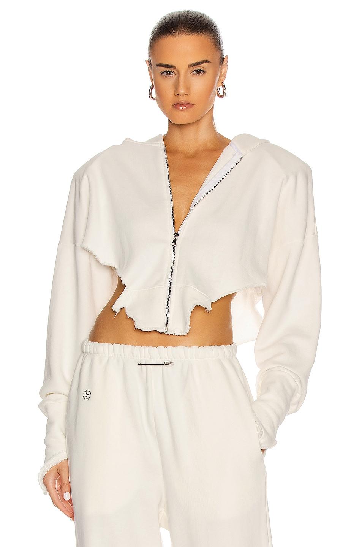 Image 1 of SAMI MIRO VINTAGE V Cut Zip Up Hoodie in White