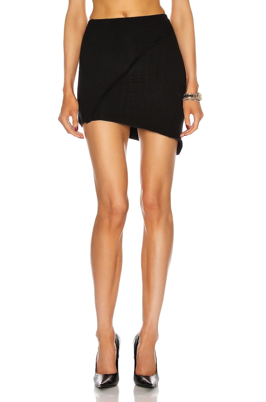 Image 1 of SAMI MIRO VINTAGE Asymmetric Mini Skirt in Black