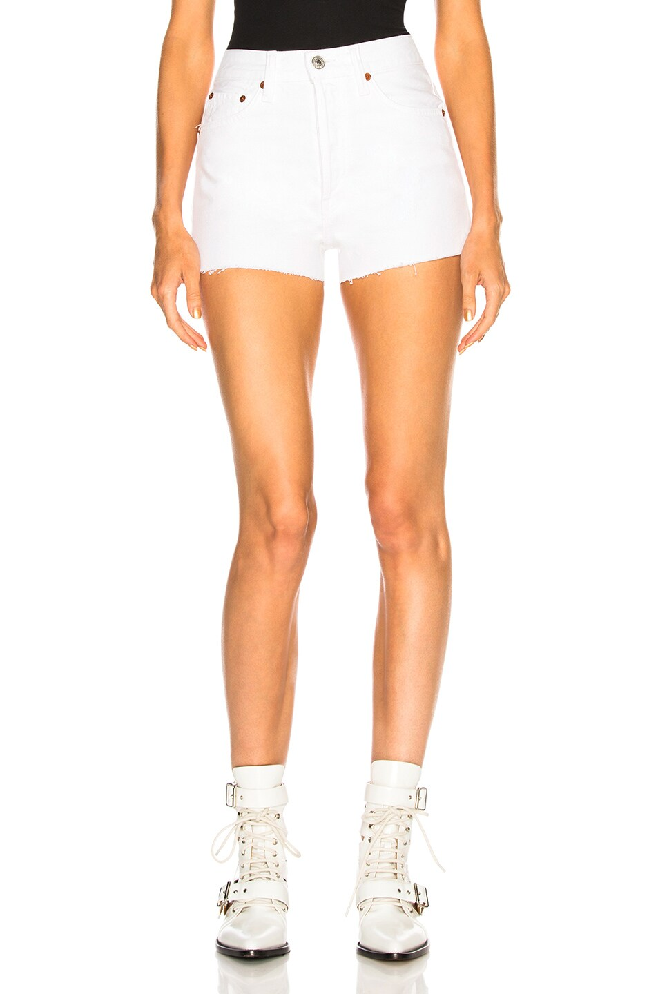 Image 1 of Solid & Striped x RE/DONE Hollywood High Waisted Short in Dirty White