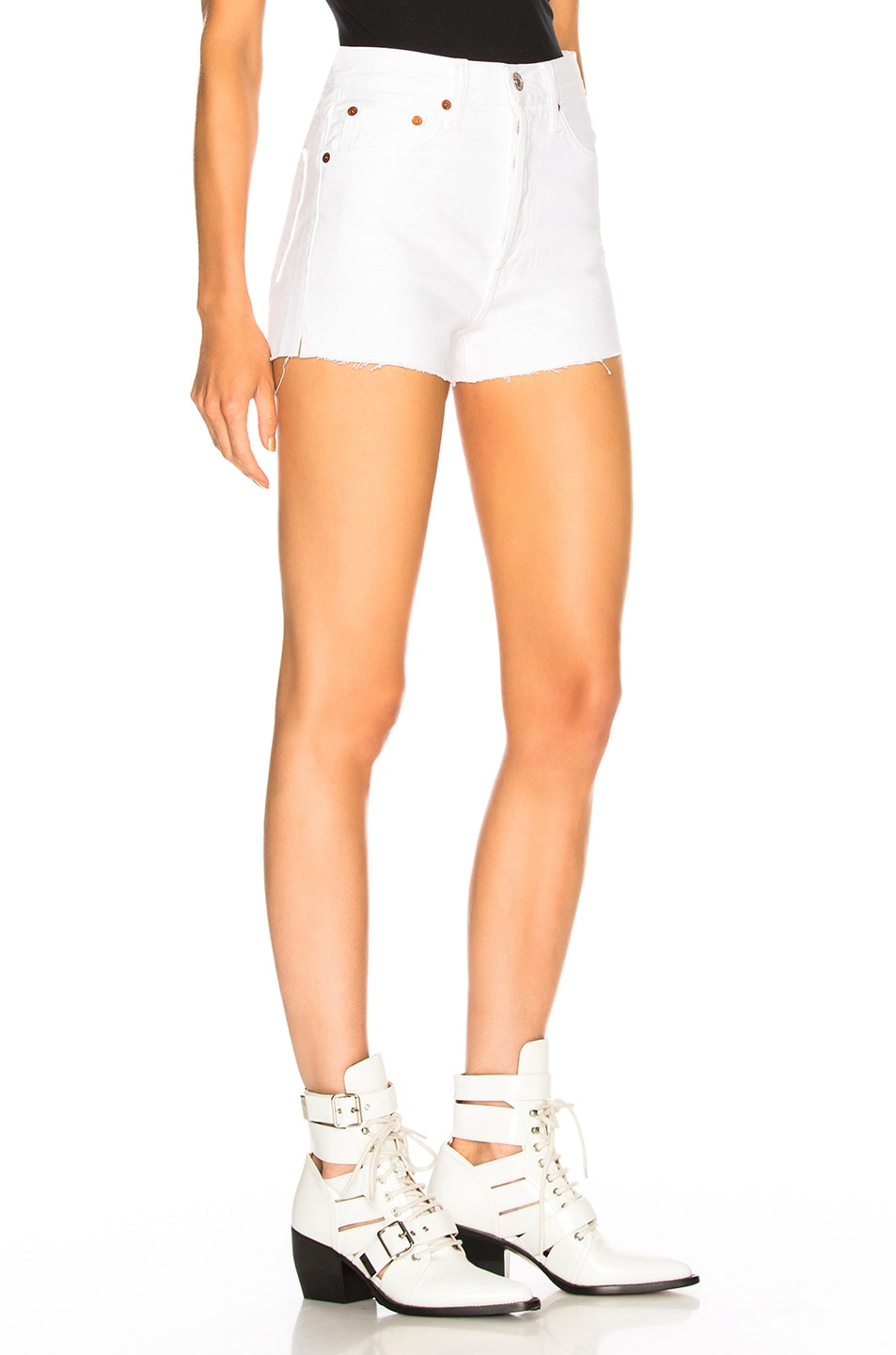 Image 2 of Solid & Striped x RE/DONE Hollywood High Waisted Short in Dirty White