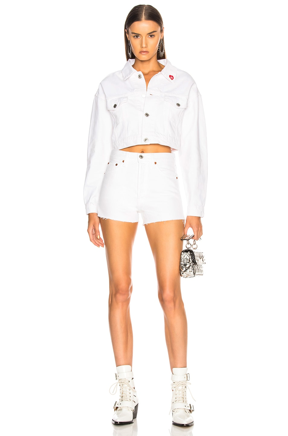 Image 4 of Solid & Striped x RE/DONE Hollywood High Waisted Short in Dirty White