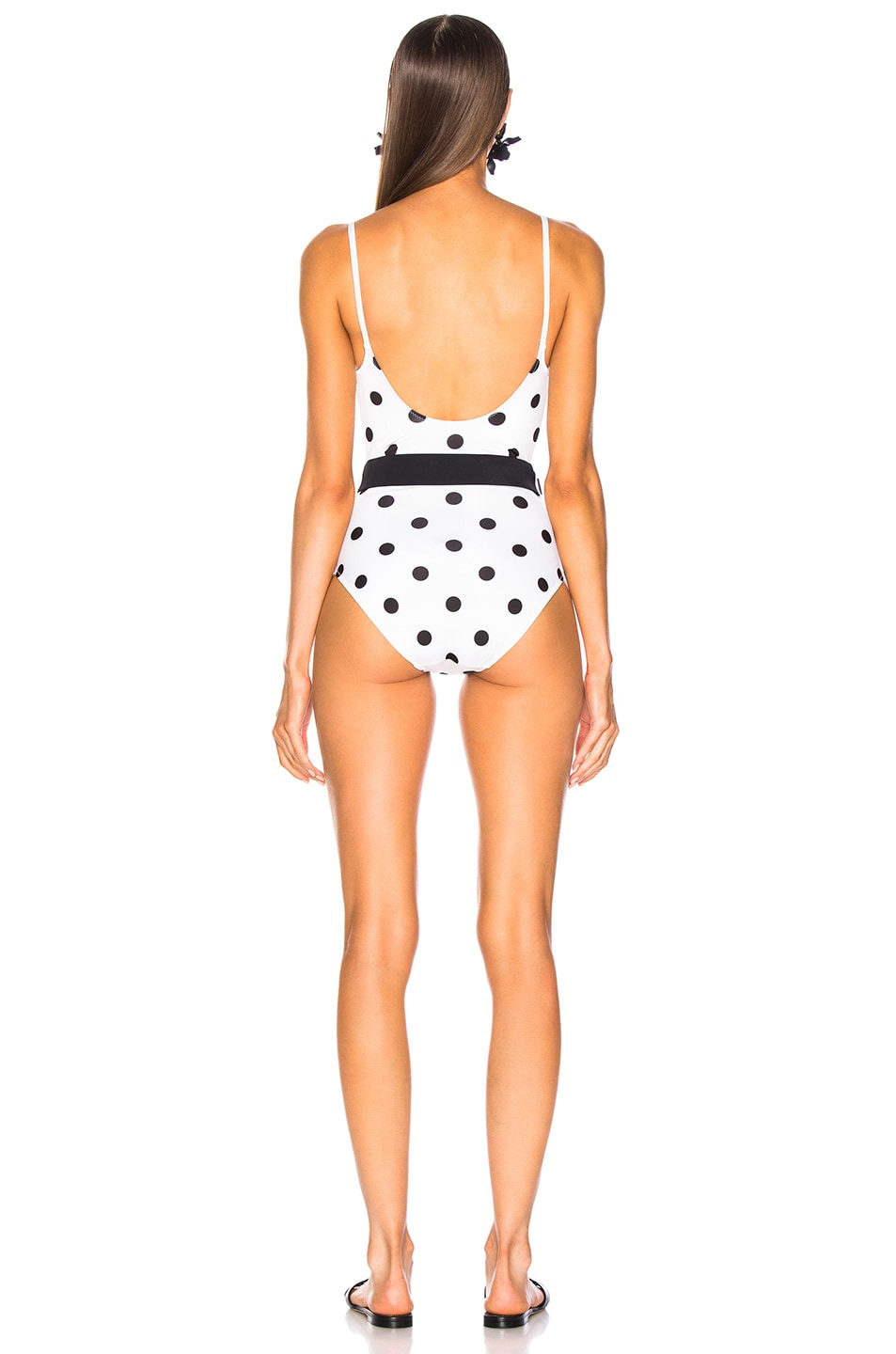 Image 3 of Solid & Striped Nina Belt Swimsuit in Small Cream & Black Dot