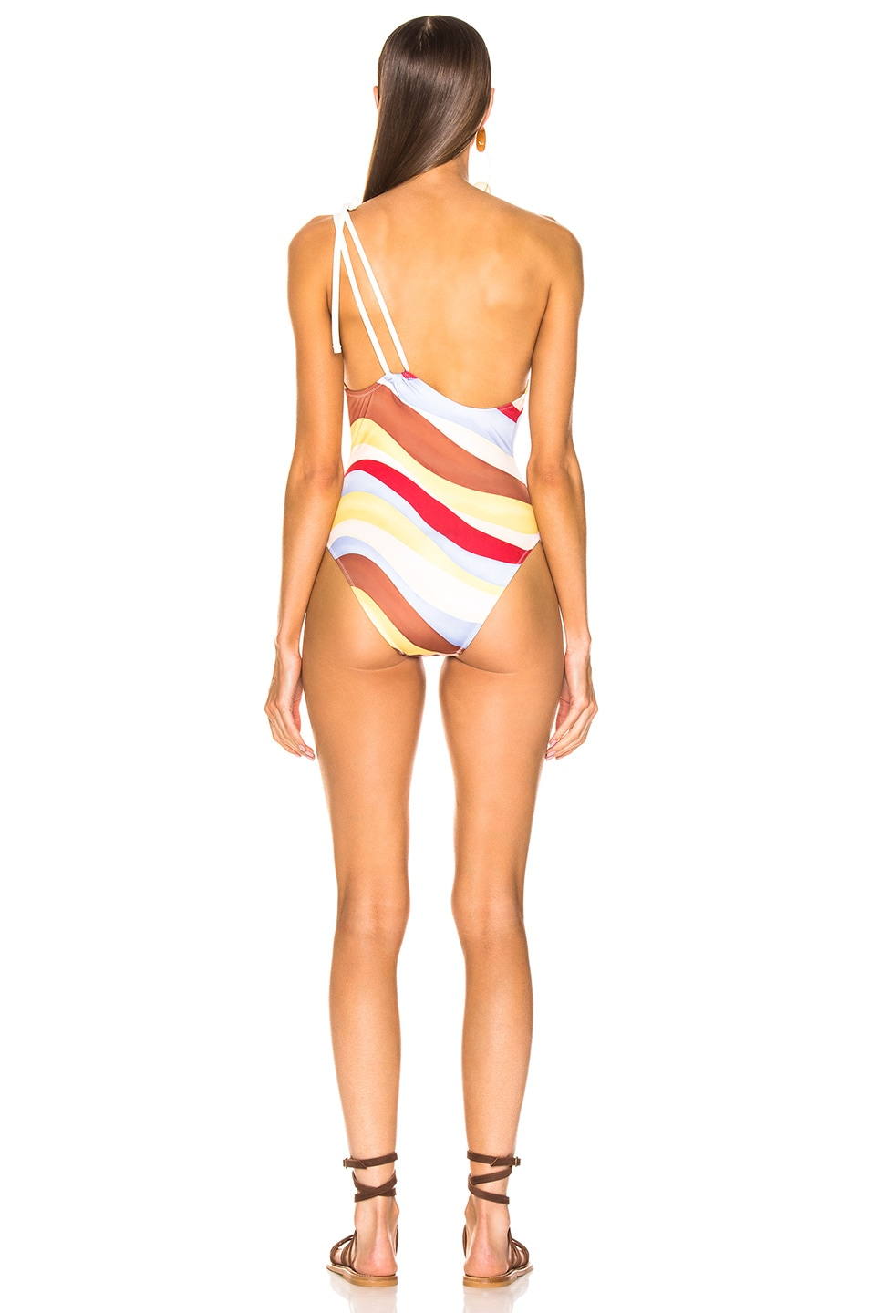 Image 4 of Solid & Striped Saree Swimsuit in Wave Print