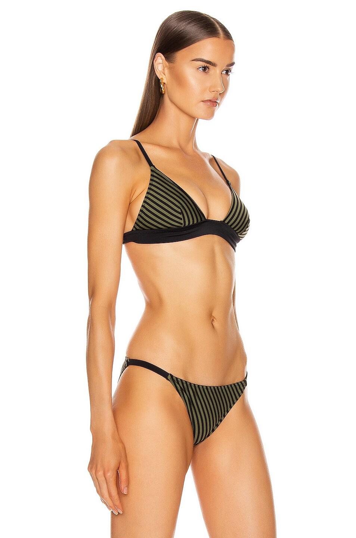 Image 2 of Solid & Striped Morgan Bikini Top in Olive & Black Stripe