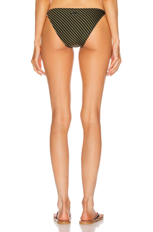 Image 3 of Solid & Striped Morgan Bikini Bottom in Olive & Black Stripe