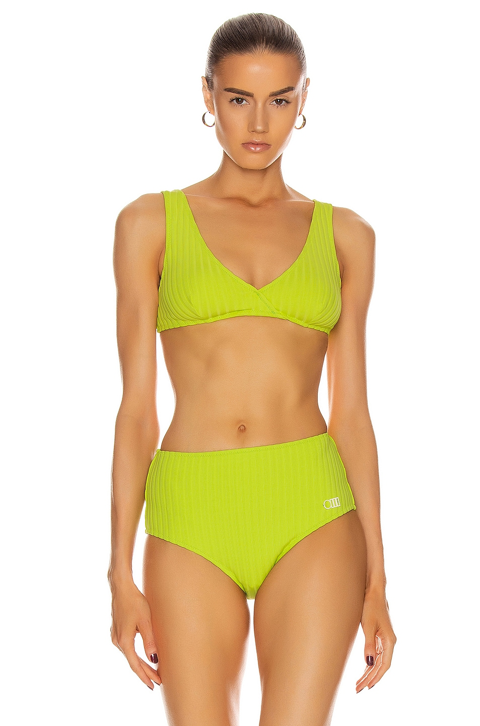 Image 1 of Solid & Striped Beverly Bikini Top in Chartreuse Rib