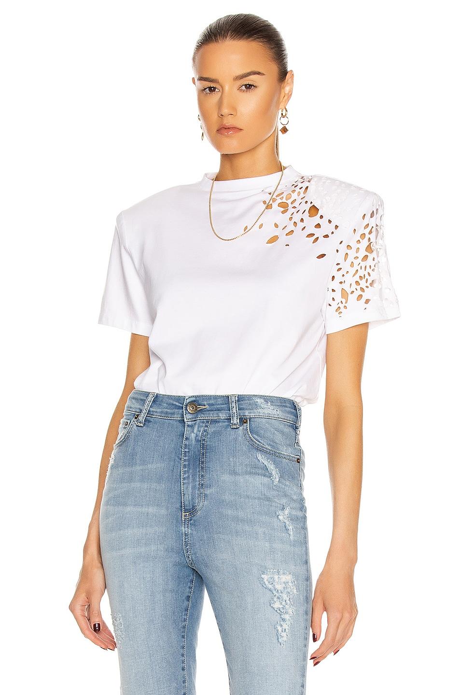 Image 1 of SER.O.YA Caroline T-Shirt in White Distressed