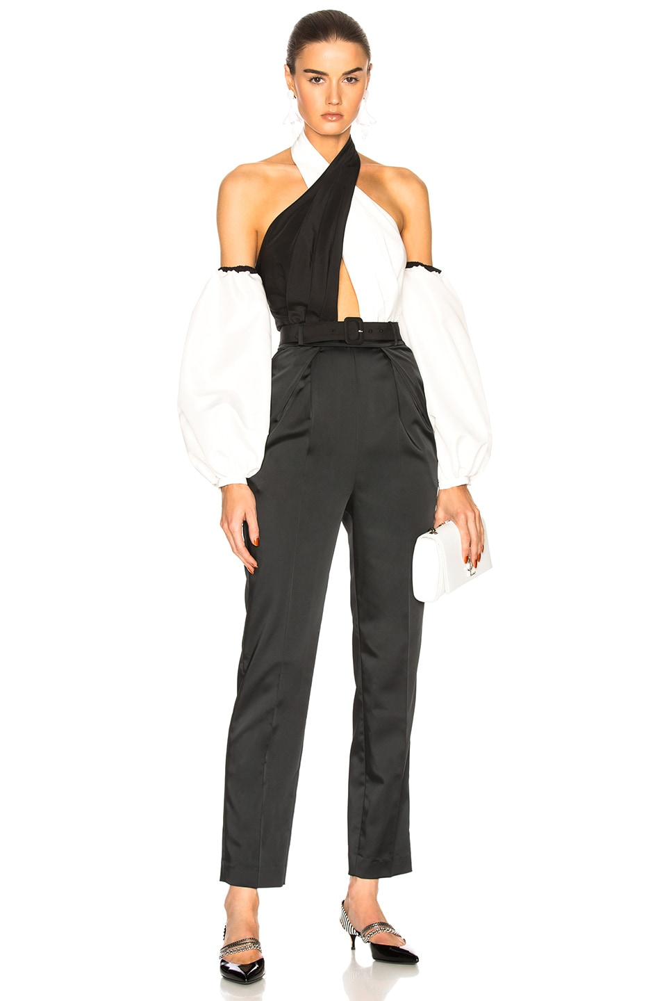 CROSSOVER TWO-TONE CREPE JUMPSUIT