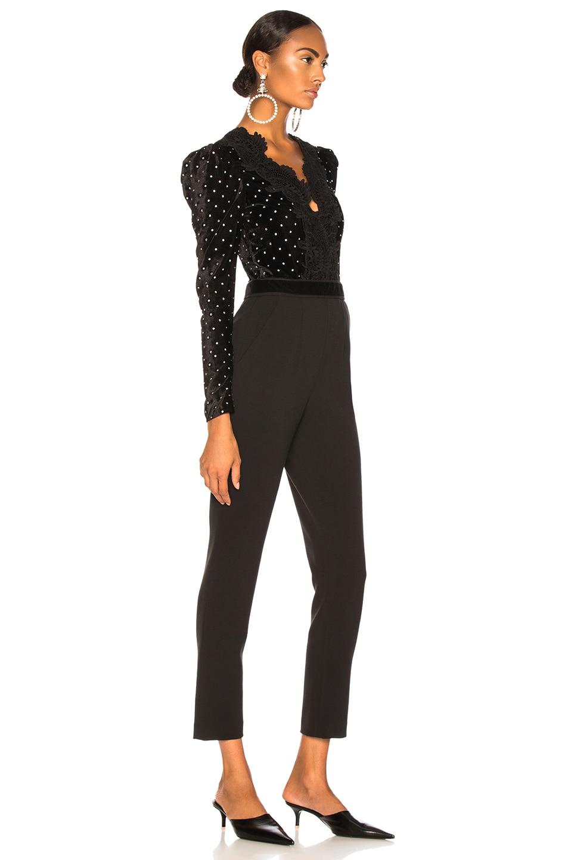 Image 2 of self-portrait Lace Trimmed Velvet Diamante Jumpsuit in Black