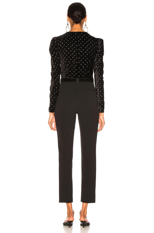 Image 3 of self-portrait Lace Trimmed Velvet Diamante Jumpsuit in Black