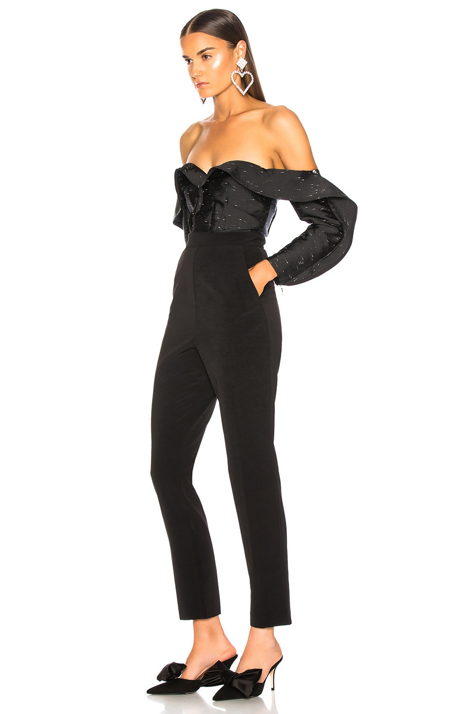Image 3 of self-portrait Midnight Jumpsuit in Black