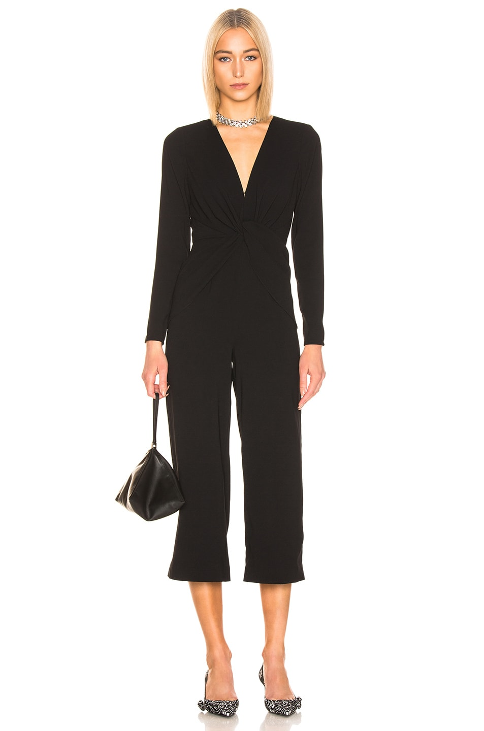 Image 1 of self-portrait Twist Front Jumpsuit in Black