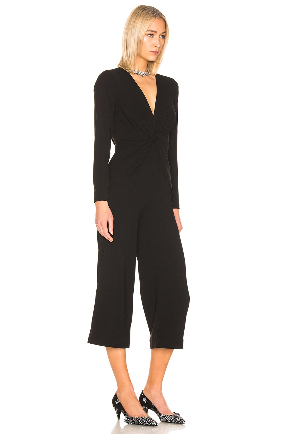 Image 2 of self-portrait Twist Front Jumpsuit in Black