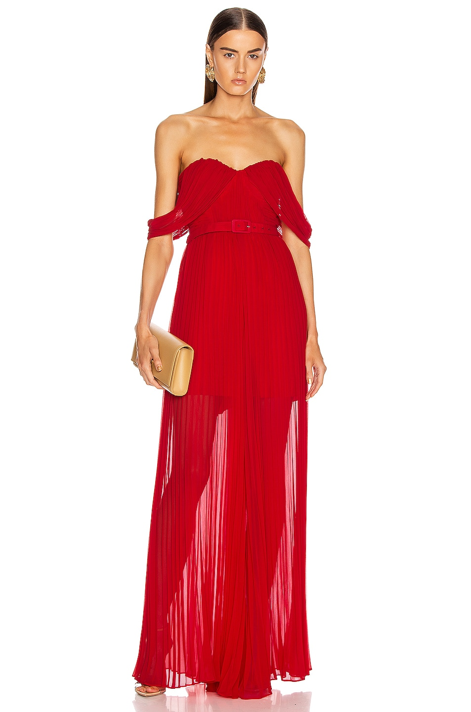 Image 1 of self-portrait Off Shoulder Pleated Jumpsuit in Dark Red