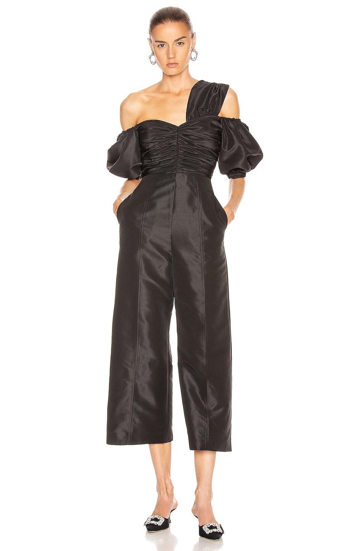 Image 1 of self-portrait One Shoulder Jumpsuit in Black