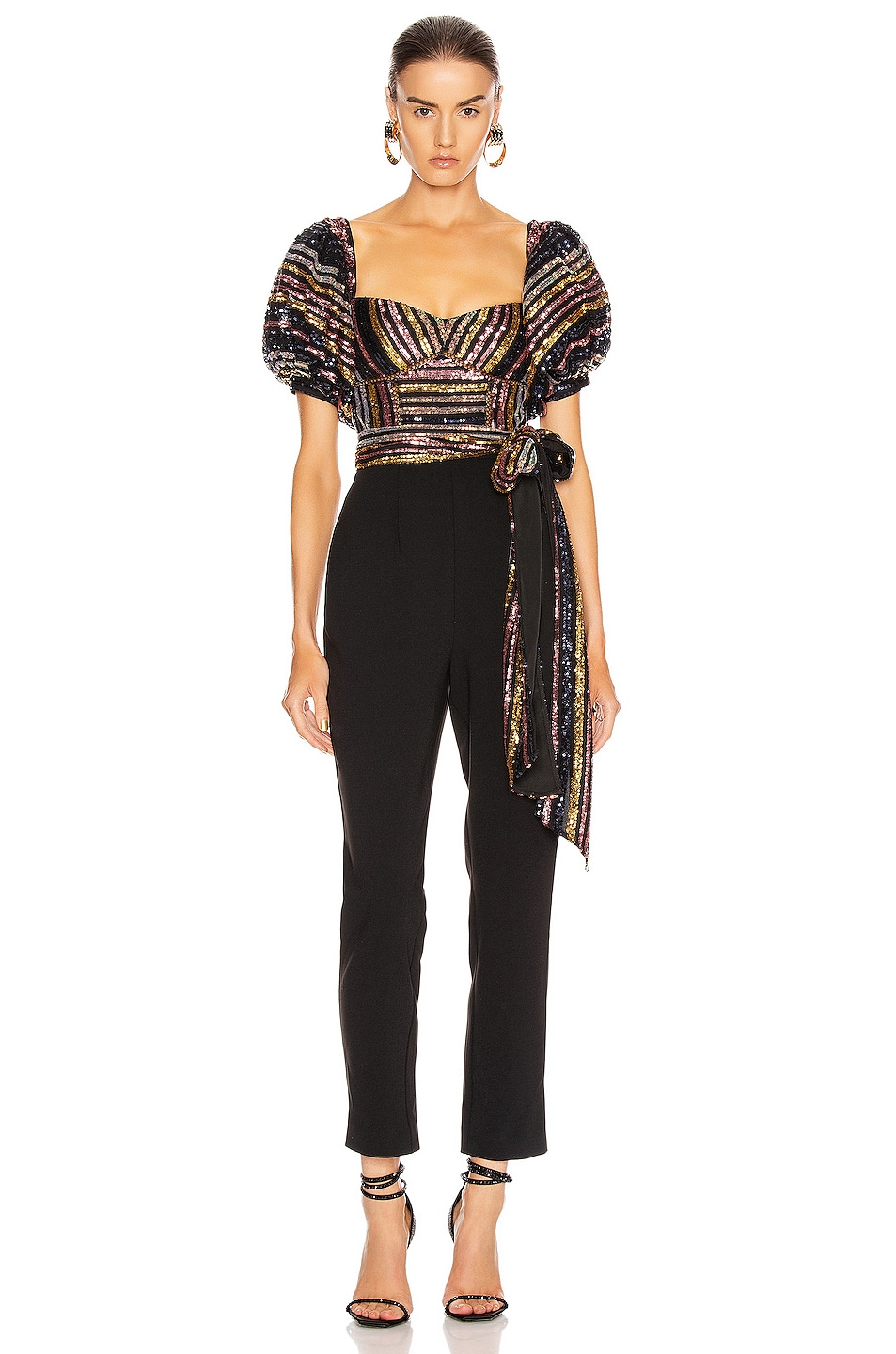 Image 1 of self-portrait Stripe Sequin Puff Sleeve Jumpsuit in Multi & Black