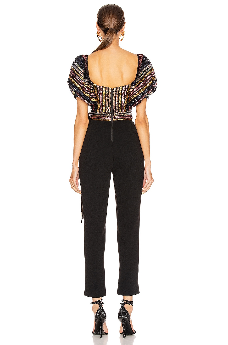 Image 3 of self-portrait Stripe Sequin Puff Sleeve Jumpsuit in Multi & Black