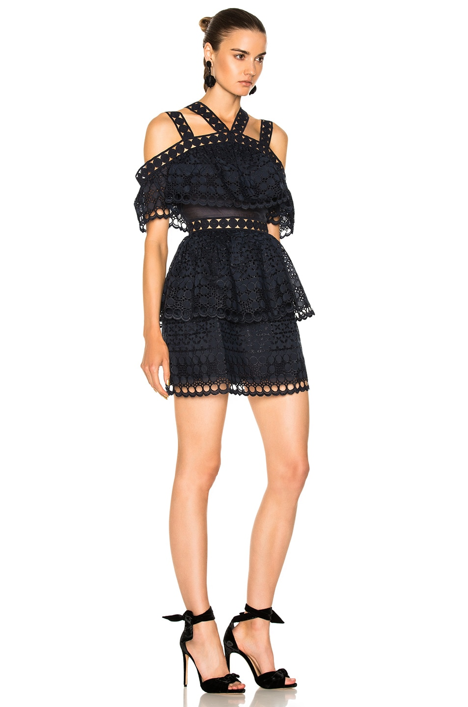 Image 2 of self-portrait Embroidered Tiered Mini Dress in Navy
