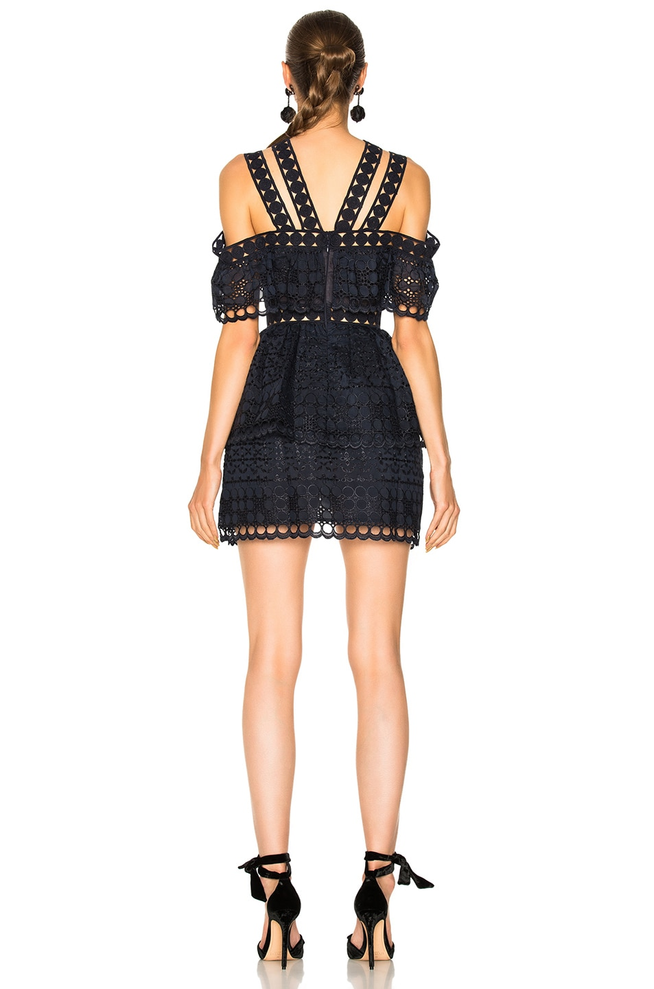 Image 3 of self-portrait Embroidered Tiered Mini Dress in Navy